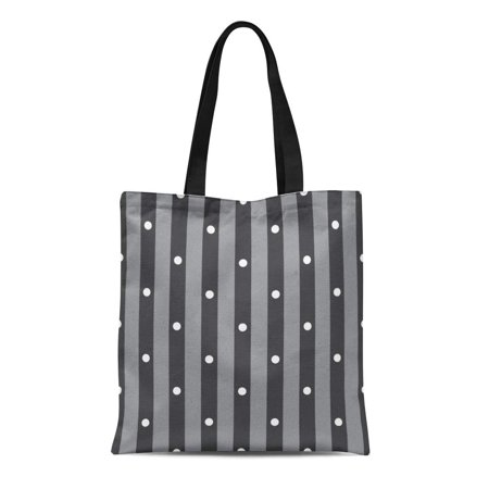 SIDONKU Canvas Tote Bag Abstract Black and White Polka Dot Stripes Pattern Beautiful Reusable Shoulder Grocery Shopping Bags Handbag - Black And White Striped Bag