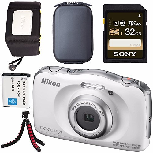 Nikon COOLPIX S33 Digital Camera (White) 26495 + EN-EL19 Lithium Ion Battery + Sony 32GB SDHC Card + Flexible Tripod + Waterproof Floating Strap Bundle
