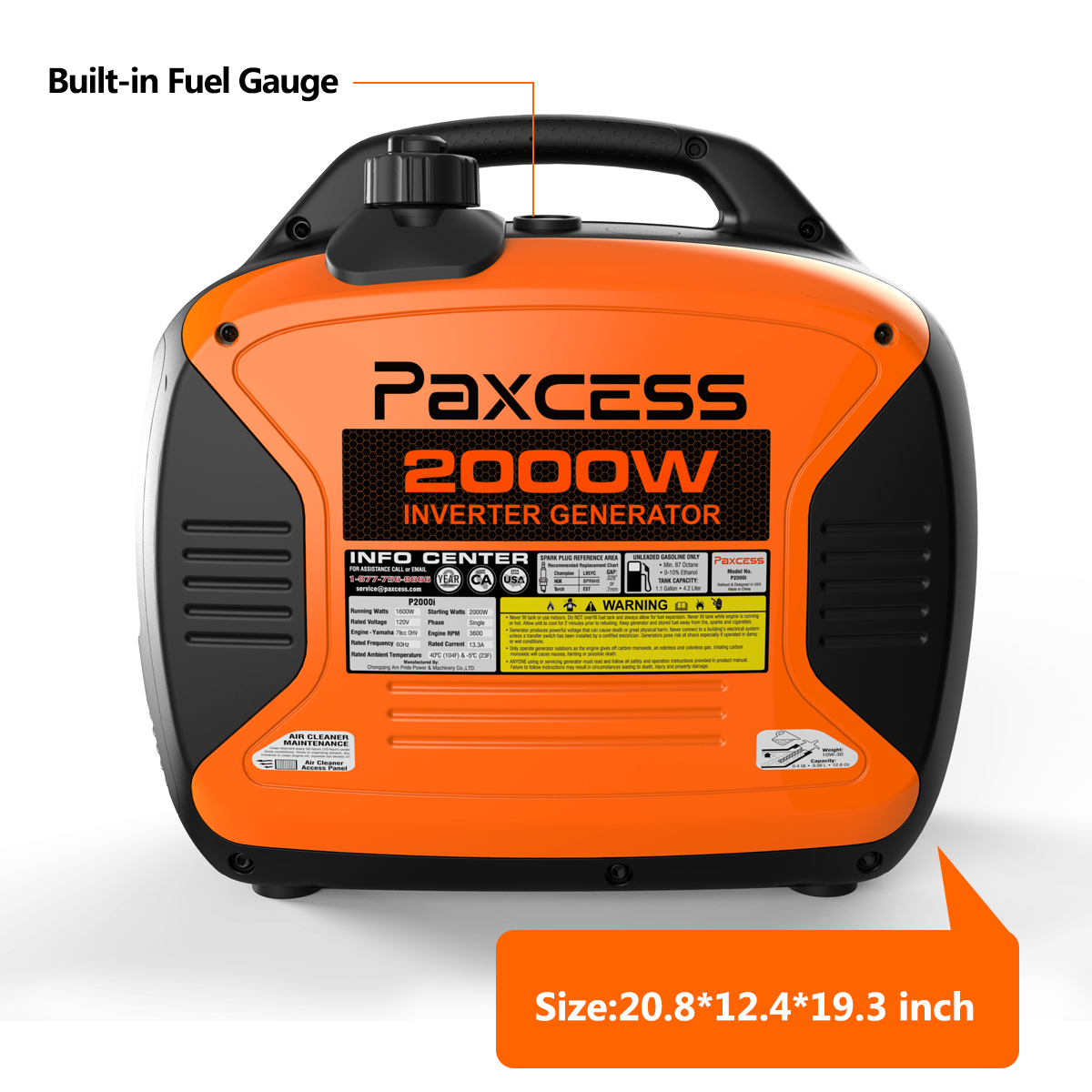 Paxcess 2000 Watts Portable Generator RV Ready Inverter Generator With Parallel Capability, Eco-Mode, CARB Complaint, 120V 30A/20A AC Outlet/USB/Cigarette Ports/12V DC Output