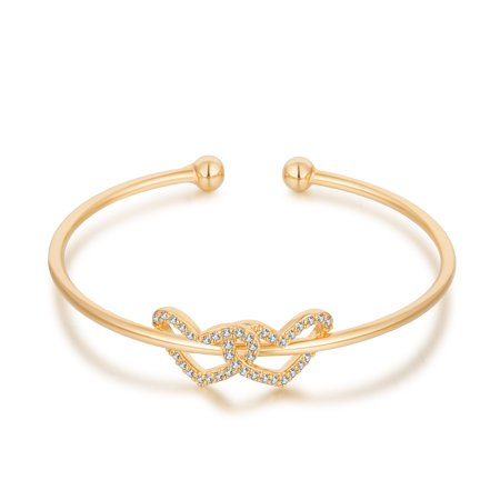 Buyless Fashion Girls Double Hearts Bangle Bracelet Jewelry With White Stones Double Cable Bangle Bracelet