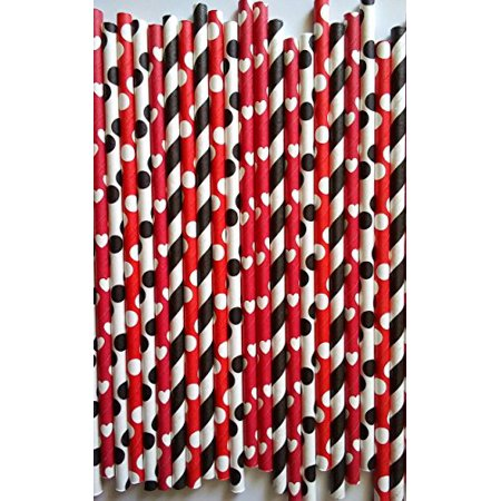 100 premium paper drink straws Minnie mouse theme party can be use for cake pop stick by ETL Products