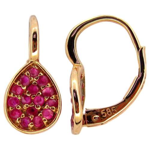 Kabella Jewelry Kabella 14k Rose Gold Ruby Pear Leverback Earrings
