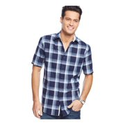 Club Room Mens Linen Plaid Button Up Shirt