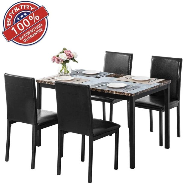 DKLGG Modern Faux Marble Dining Table Set for 5 (Black)