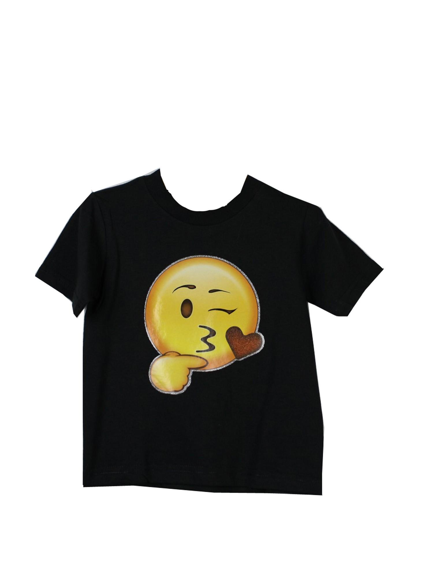 Unisex Black Yellow Blow Kiss Emoji Face Print Cotton Trendy T-Shirt