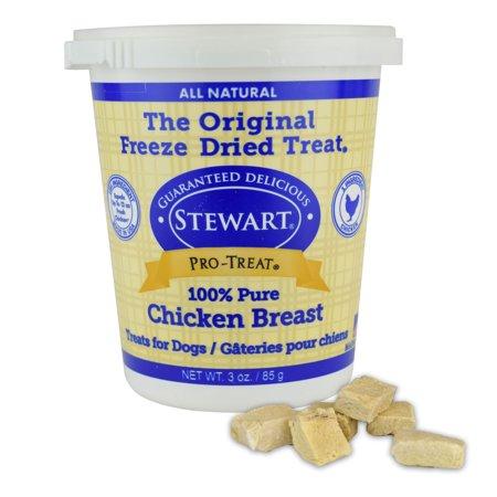 Stewart Freeze Dried Chicken Breast Dog Treats by Pro-Treat, 3 oz. Tub
