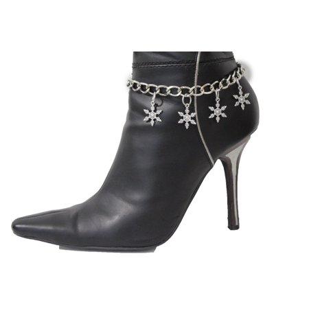 Women Boot Bracelet Metal Silver Metal Chain Heels Shoe Snowflake Ornament Charm High Heel Shoe Bracelet Charm