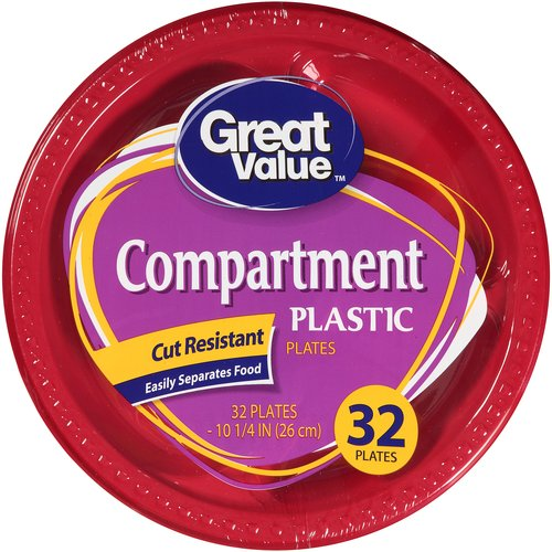 "Great Value Compartment Plastic Plates, 10 1/4"", 32 count"