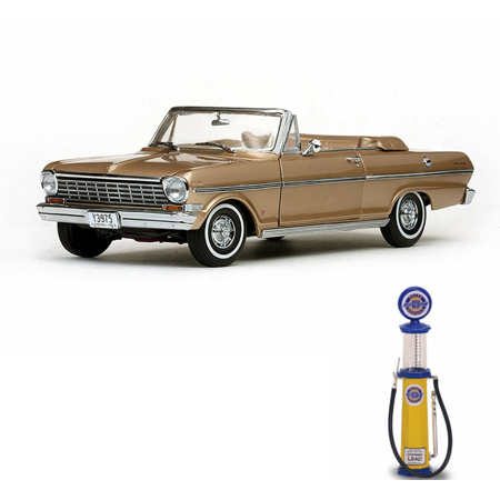 - Chevy Diecast Car & Gas Pump Package - 1963 Chevrolet Nova Open Convertible, Saddle Tan - Sun Star 3975 - 1/18 Scale Diecast Model Toy Car w/Gas Pump
