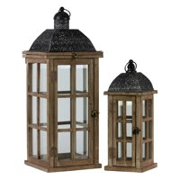 Urban Trends Collection: Wood Lantern, Weathered Wood Finish, Black, Brown