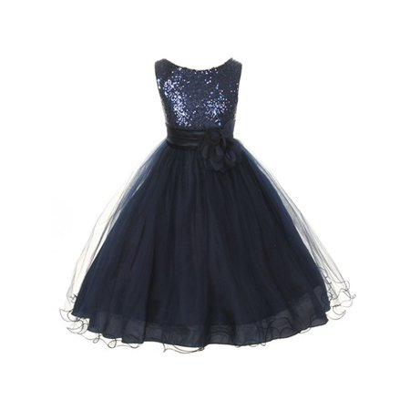 Kids Dream Girls Navy Sequin Illusion Tulle Plus Size Party