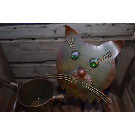 Canvas Print Decorative Decoration Design Can Iron Cat Stretched Canvas 10 x (14 Cyan Design)