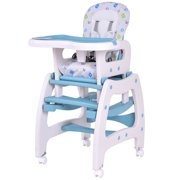 Costway 3 In 1 Baby High Chair Convertible Play Table Seat Booster Toddler Feeding Tray Blue