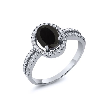 2.01 Ct Oval Black Onyx 925 Sterling Silver Ring