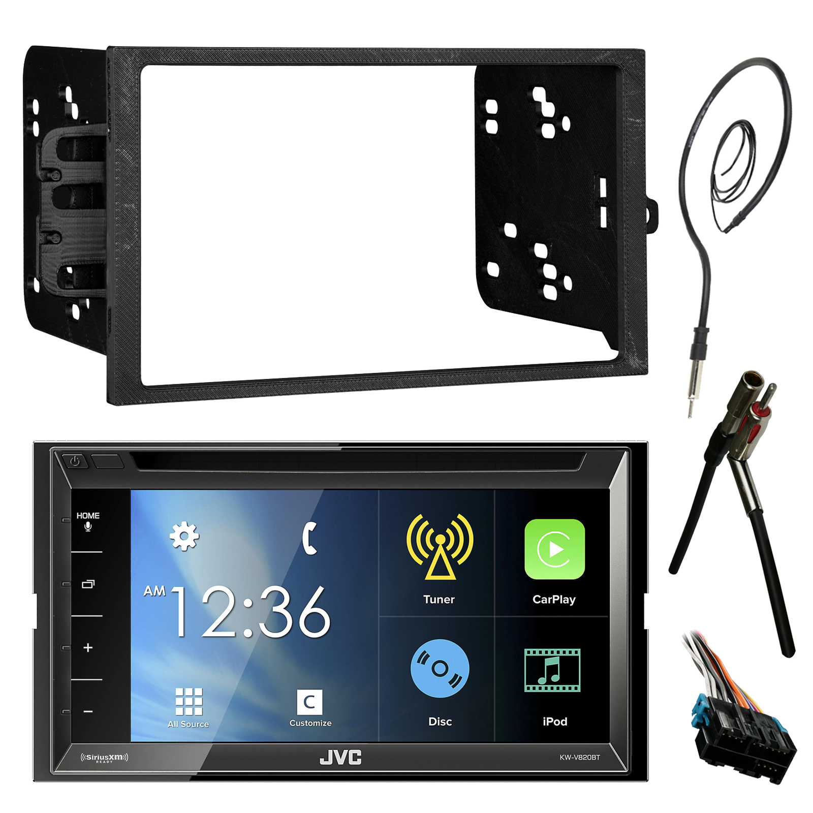 Jvc Kwv820bt 68 Touch Screen Bluetooth Cd Dvd Car Stereo Receiver Wiring Harness Bundle Combo With Metra Dash Installation Trim Kit For Gm Vehicles