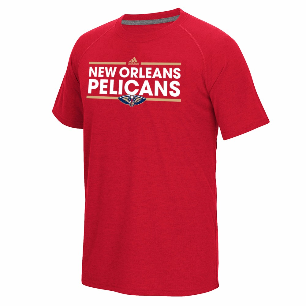 """New Orleans Pelicans NBA Adidas Red """"Dassler"""" Graphic Climalite Performance Short Sleeve T-Shirt For Men"""