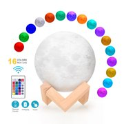 16 Colors Creative Moon Lamp 3D Printed Lunar Lamp LED Night Light 8cm/ 3.1in with Remote Control Stand for Children Girls Birthday Thanksgiving Christmas Gifts