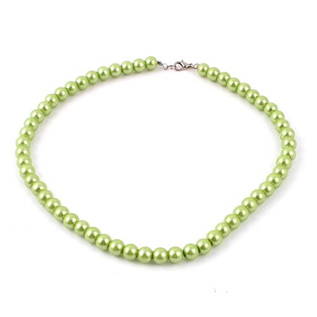 Ladies Single Strand Clasp Round Faux Pearl Linked Necklace Decor Green