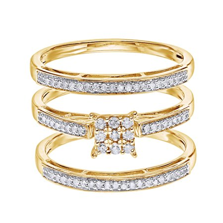 White Natural Diamond Wedding & Engagement Trio Band Ring Set In 14k Yellow Gold Over Sterling Silver (0.25