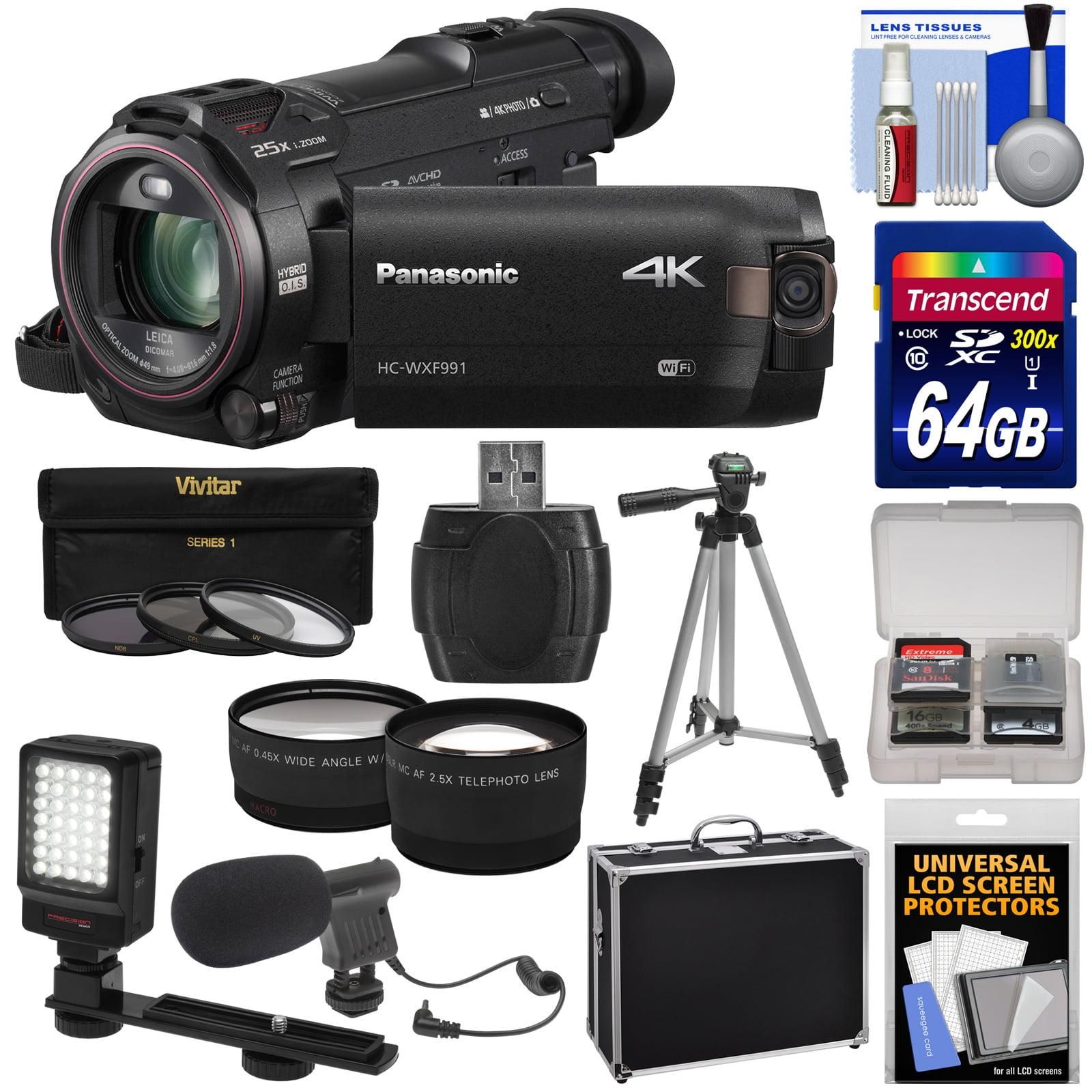Panasonic HC-WXF991 Wi-Fi 4K Ultra HD Video Camera Camcorder with 64GB Card + Hard Case + Tripod + LED Light + Mic + Filters + Tele/Wide Lens Kit