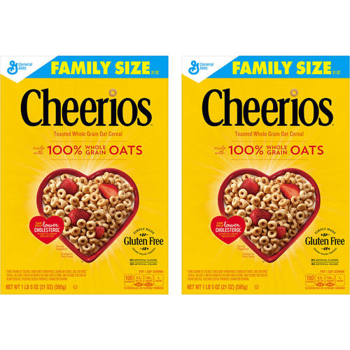 Cheerios Family Size Gluten Free Cereal, 21 oz (Pack of 2)