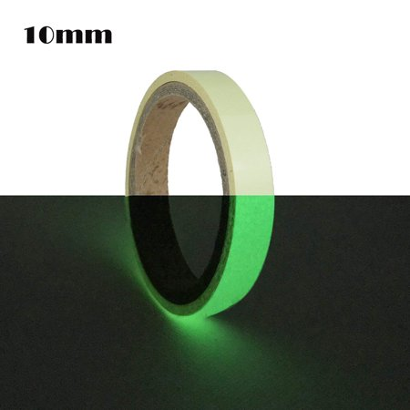 Photoluminescent Vinyl - 10ft Glow In Dark Decorative PET Tape Removable DIY Handmade Photoluminescent Luminous Decor Tapes Self-adhesive Multifunctional Sticky Tape Sticker for Stage Home Safety(Green 10mm)