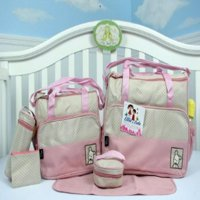 Ellie & Luke (Pink) Diaper Bag with Changing Pad 6 Pieces Set