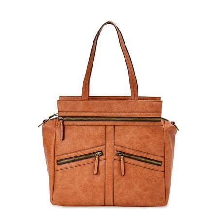 Time and Tru Gigi Tote Hand Stitched Detail Handbag