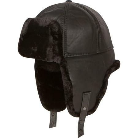 Shearling Leather Coat - Sakkas Leather Shearling Faux Mink Fur Aviator Russian Ushanka Hat Chin Strap - Black - Large