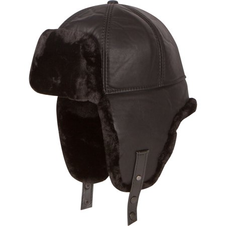 Shearling Leather Coat - Sakkas Leather Shearling Faux Mink Fur Aviator Russian Ushanka Hat Chin Strap - Black - Large