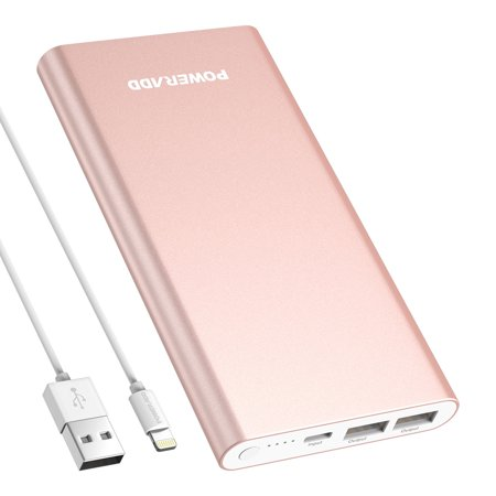 Poweradd Pilot 4GS 12000mAh Power Bank Portable Charger Dual USB Ports External Battery for iphone Samsung Cellphone With Lightning 8-Pin Cable 3.3ft