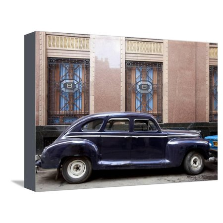 Vintage Car Parked Next to the Bacardi Rum Building in Havana, Cuba Stretched Canvas Print Wall Art By Carol