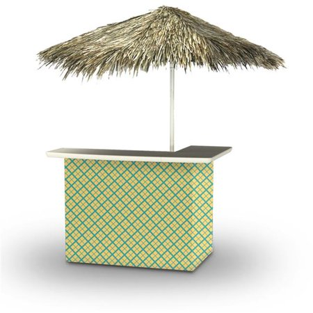 Best of Times 2001W2113-CP Caddy Plaid Palapa Portable Bar & 6 ft. Square Palapa Umbrella, (Best Bar In Cp)