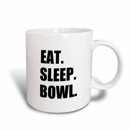 Super Bowl Mugs (3dRose Eat Sleep Bowl - passionate about bowling bowler black typography text, Ceramic Mug,)