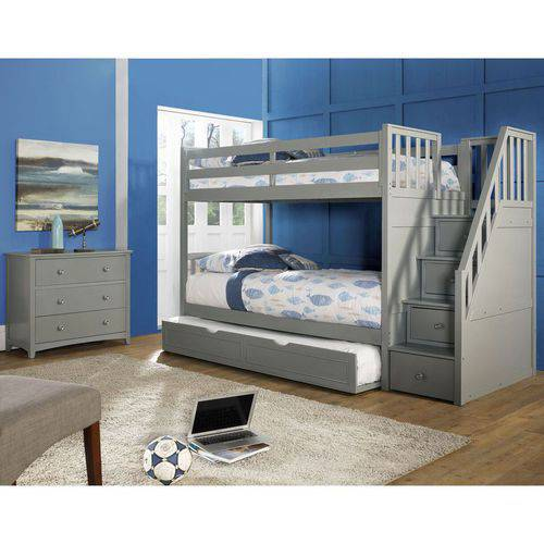 Barrett Twin Over Twin Wood Bunk Bed With Trundle Grey