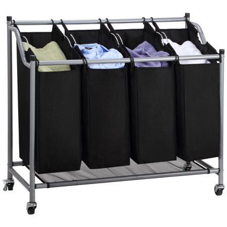 Mllieroo Heavy-Duty 4-Bag Rolling Laundry Sorter Storage Cart with Wheels chromed,Black