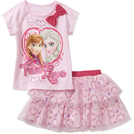 Disney Frozen Baby Toddler Girl Elsa And Anna Tee Skirt Outfit Set