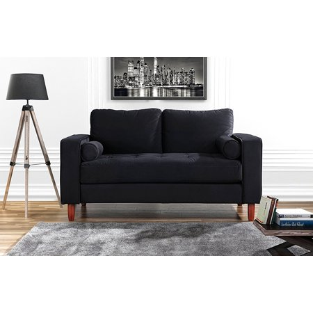 Couch for Living Room, Tufted Velvet Fabric Sofa with Back Cushions, Tufted Bottom and 2 extra cushions (Black)