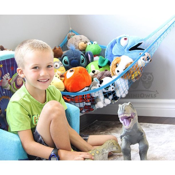 Stuffed Animal Toy Hammock - Coolmade Best for keeping rooms clean, organized and clutter-free - Toy Organizer Storage Net is Durable and Easy to Install, Blue1, 1 Pack