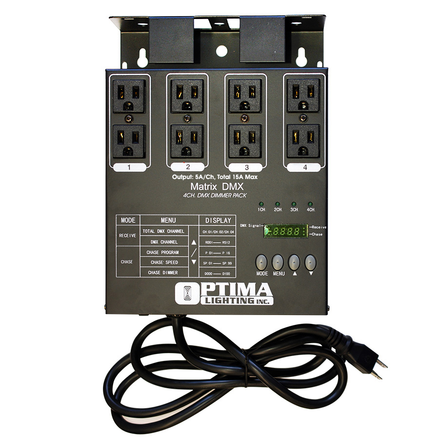 Optima MATRIX DMX 4 Channel Double Output DMX Dimmer Pack