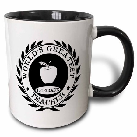 3dRose Worlds Greatest 1st Grade Teacher award Best first grade teaching gift - Two Tone Black Mug,