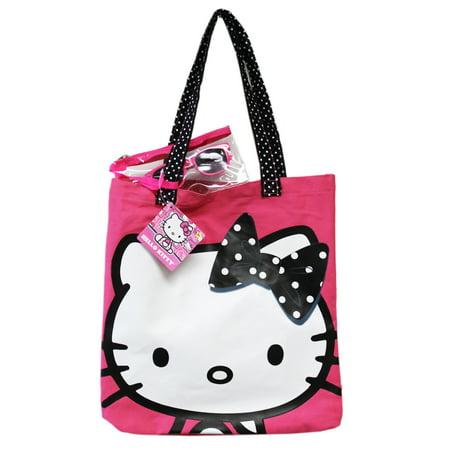 Hello Kitty Black and White Polka Dotted Bow Pink Colored Canvas Beach - Hello Kitty Nurse Plush