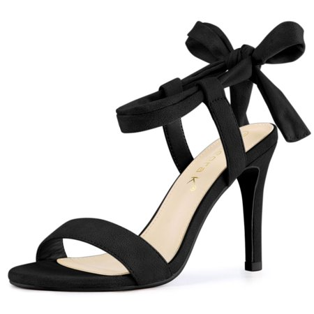 Women's Open Toe Lace Up Stiletto High Heels Sandals Black US 9 - image 7 of 7