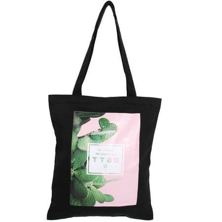 eddcd896338a Canvas Cactus Pattern Zipper Design Book Holder Shoulder Tote Bag ...