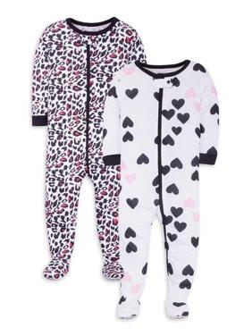 Little Star Organic Baby/Toddler Girls' Organic Footed Pajamas, 2-Pack
