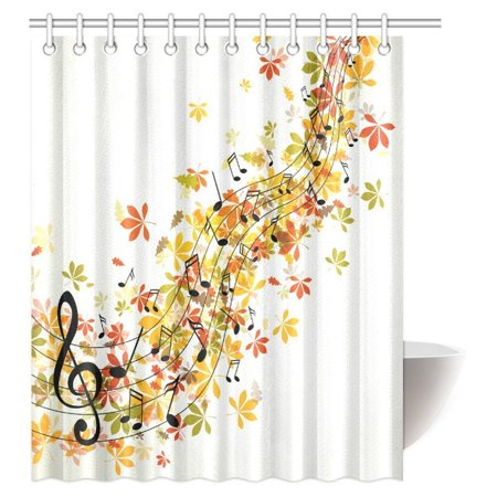 Mypop Music Decor Shower Curtain  Musical Fantasy Happiness Freedom Decorating Natural Leaf Trees Image Fabric Bathroom Shower Curtain With Hooks  60 X 72 Inches