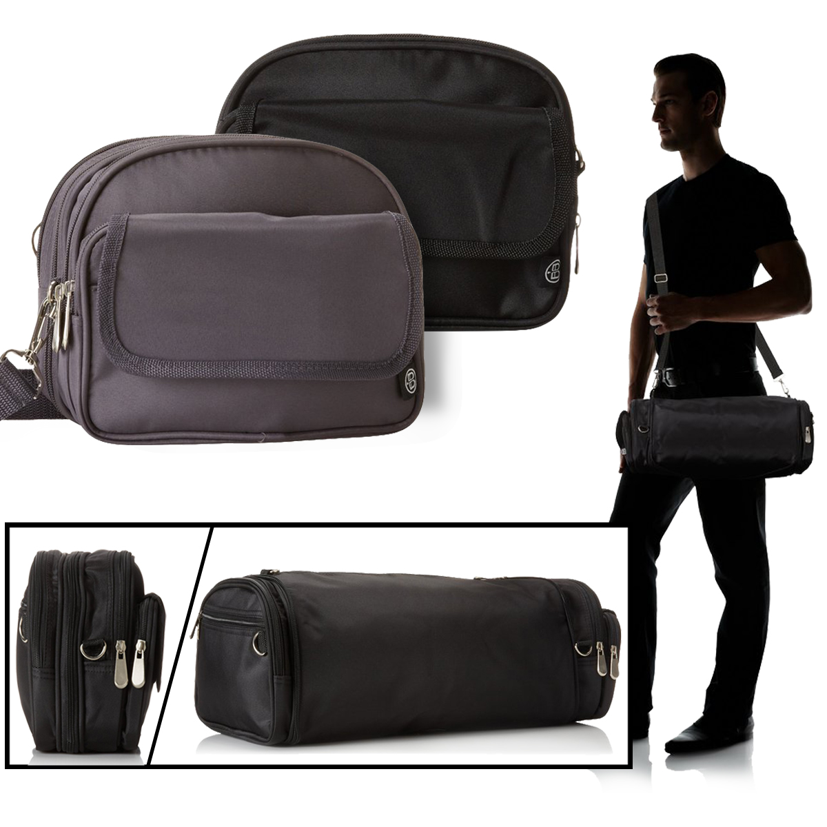 2 Beyond A Bag Expandable Totes 3-In-1 Crossbody Shoulder Waist Duffle Pack Case by