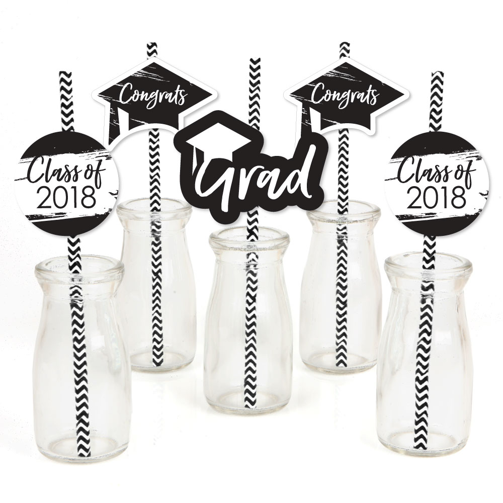 Black and White Grad - Best is Yet to Come - Paper Straw Decor - 2018 Graduation Striped Decorative Straws -Set of 24