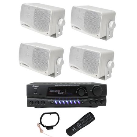 4) PYLE PLMR24 200W Outdoor Speakers + PT260A 200W Stereo Theater Receiver by