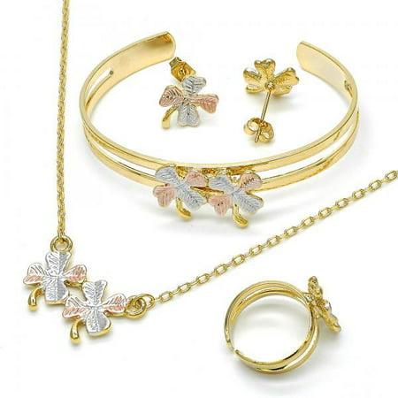 Flirty Radiant Gold Layered Girls Leaf Earring and Pendant Children